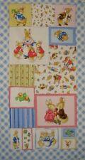 "Beatrix Potter Story Peter Rabbit Benjamin Bunny Cotton Fabric Quilt 23"" Panel"