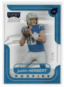 2020 PANINI CHRONICLES CLEARLY PLAYOFF JUSTIN HERBERT RC ROOKIES #'D 77/99