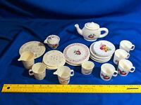 Large LOT VTG Childrens Toy Tea Set Plastic Porcelain 80s-90s Chilton-Globe