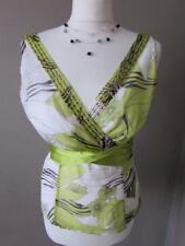 Coast Donna Bianco Lime Verde Floreale SILK TOP Nastro Cravatta Cintura Perline Trim Taglia 10