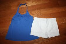 New Janie & Jack Riviera Vacation Size 6 Set Blue Halter Swing Top White Shorts