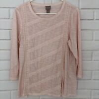 Chicos Women's Blush Pink Lace Crochet 3/4 Sleeve T-Shirt Top Size 0 (Small)