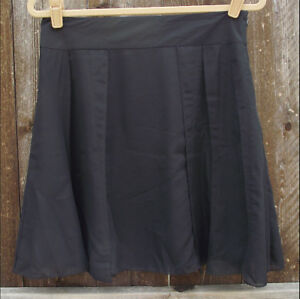 KENNETH COLE SOLID BLACK POLYESTER FLAIR SHORT LINED CASUAL KNEE SKIRT 4  $129