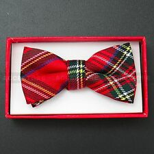 Children Kids Toddler Boys Girls Solid Colour Bowtie Pre Tied Bow Tie Party Prom Red Plaid