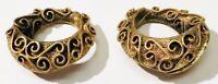 boucles d'oreilles clips rétro bijou vintage anneaux couleur or signé *3389
