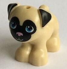 Lego Dog Minifig x 1 Toffee Pug Tan  with Black Face Size 2cm x 2cm x 1cm