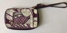 Thirty One Purple Floral Zip Around ID Case Credit Card Holder Wallet Wristlet