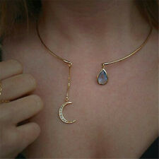 Vintage Quartz Moon Gemstone Pendant Necklace Crystal Jewelry Women Gift