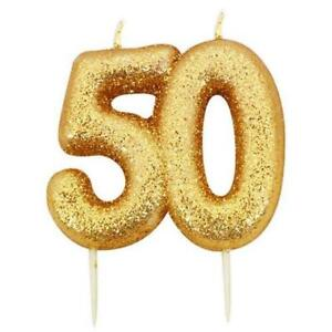 50th Birthday Cake Candle Gold Anniversary Glitter Age Number Party Topper Gift