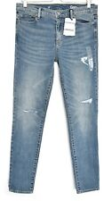 NEW Gap Authentic TRUE SKINNY Blue RIPPED Mid Rise Stretch Jeans Size 12 W30 L30