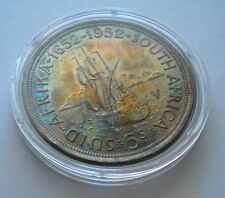 South Africa 5 Shillings 1952 Crown-Size KM#41 Silver Coin ** UNC Rainbow Toned