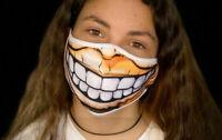 Washable Face Mask BIg Smile Fun Funny Youth Huge Teens Teeths Sand Men 3D Comic