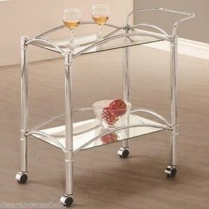 Mirror Glass Metal Beverage Cart Serving Bar Rolling Wine Storage Portable Party