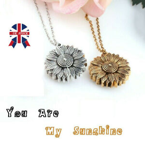 """You Are My Sunshine ""Open Locket Sunflower Pendant Necklace Women Fashion 2019"