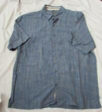 REI mens Med blue subtle plaid short sleeved button front rayon blend shirt