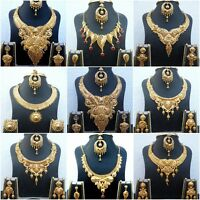 Indian 22K Gold Plated Wedding Necklace Earrings Different Variations set