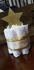 Mini Diaper Cake - Twinkle Twinkle Gold and White Neutral Diaper Cake