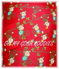 1.5 SAFARI FUNKY SPUNKY MONKEY BUSINESS GROSGRAIN RIBBON BROWN 4 HAIRBOW BOW RED