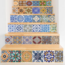 6pcs Moroccan Tile Self Adhesive Stair Sticker Step Decals Floor Mural 18x100cm