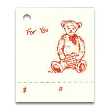"50 TEDDY BEAR HANG TAGS PERFORATED PRICE HEART CuTe! 1-3/4""x 2-1/8"" ~Tie On~"