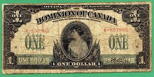 1917 1 Dollar Dominion of Canada One Dollars