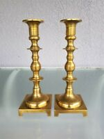 "ANTIQUE BRASS CANDLESTICK HOLDERS 9 5/8"" TALL SQUARE BASE CANDLE"