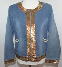 Randolph Duke The Look Jeanius Jean Denim Jacket Gold Sequin Party Womens 16