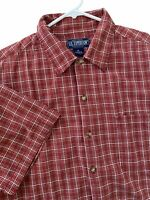 Mens US  Expedition Short Sleeve Shirt XL Red Plaid Casual Outdoor Button Up