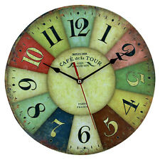 Hot Chic Shabby Retro Paris Multicoloured Vintage Style Giant Wall Clock 30CM