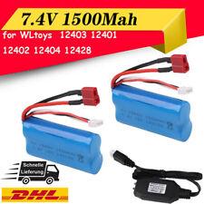 2 Stück 7,4V 1500Mah Li-Ion Akku mit USB Ladegerät für WLtoys 4WD RC Cars 12403