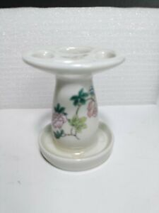 TAKAHASHI Cho-Cho Butterfly Flowers Toothbrush Holder 3¾in Ivory Porcelain Pedes