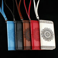 EMBOSSED MANDALA PATTERN FAUX LEATHER SLOTS PHONE CASE COVER FOR  SAMSUNG RETRO