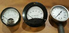 3 Vintage Electrical Instrument Dc Volts Amps Ge Meter Pressure Gauge Steampunk