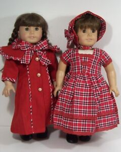 VICTORIAN Coat RED Plaid Dress Bonnet Doll Clothes For 18 American Girl (Debs*)