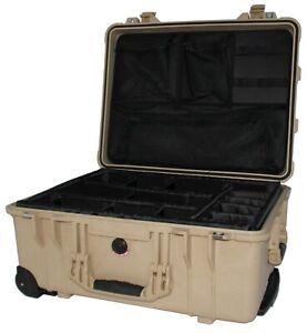 PELI CASE 1560 + EINTEILUNGSSYSTEM+DECKELEINTEILER - SAND