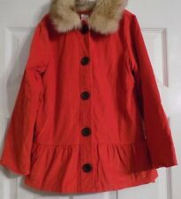 Girl's Red-Orange Gymboree Jacket Coat Size M 7-8 7 8 Faux Fur Around The Neck