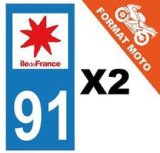2 AUTOCOLLANTS PLAQUE IMMATRICULATION MOTO DEPT 91 REGION Île de France