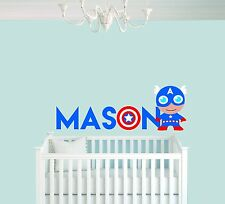 Personalized Name Captain America Nursery - Baby Boy Decoration - Wall Decal