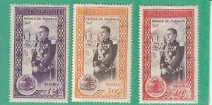 MONACO 1950 3 STAMPS MINT HINGED