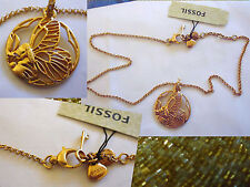 "Fossil 14kt plated Butterfly necklace 15"" up to 18"" fossil charms"