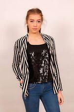 designer style cream & black stripe blazer jacket
