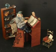 Magical Elf Wizard Seated at Lectern Writing Spells OOAK Fantasy Figure