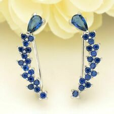14K White Gold Plated 2.50 Ct Blue Sapphire Womens Cuff/Stud Earrings in Silver