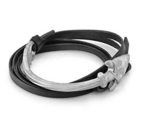 Room 101 Silver Stainless Steel Arrow Leather Wrap Bracelet Mens Curved Bent