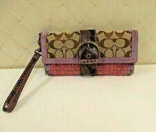 Coach Wristlet Tweed Purple Suede Wallet Buckle Handbag Clutch Monogram C