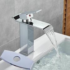 "Chrome Bathroom Sink Faucet Waterfall Single Handle Vanity Mixer Tap + 6 "" Plate"