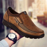 Men's Leather Casual Shoes Winter Breathable Antiskid Loafers Outdoor Moccasins