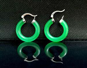 """Genuine Green Jade Jadeite 14k White Gold F 1"""" Hoop Earrings - Gift Boxed"""
