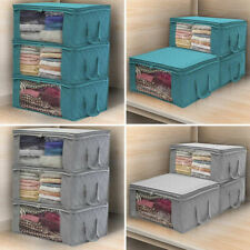 3Pcs Foldable Clothes Storage Bags Non-Woven Closet Cube Wardrobe Organizer Box