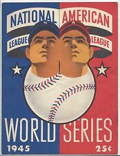 1945 World Series program Chicago Cubs Detroit Tigers Wrigley UNSCORED folded